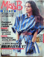 RIVISTA MAGAZINE MISS B  BURDA 1 1987 +CARTAMODELLI + ISTRUZIONI ITALIANO