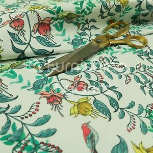 Birds Tree Leafs Green Pattern Velour Velvet Printed Upholstery Curtain Fabrics