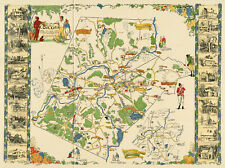 """c1923 Pictorial Map Concord Massachusetts the old Musketaquid Plantation 11""""x15"""""""