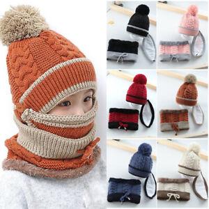 3 Pcs Set Kids Knitted Hat Scarf Caps Neck Warmer Winter Hat Boys Girls Ski Hat