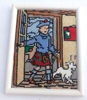 CANEVAS Tintin -  MILOU et TINTIN en écossais. 15 x 20 cm. Réalisé et encadré.