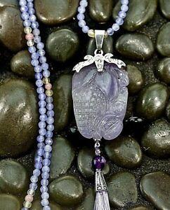 "Lavender Jade Pendant Necklace 32"" Jadeite Bead Necklace Translucent HandCarved"