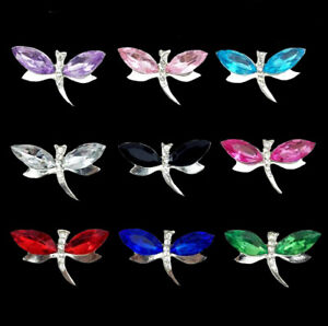 10pc Mixed Alloy Crystal Rhinestone Dragonfly Buttons for Crafts Embellishments