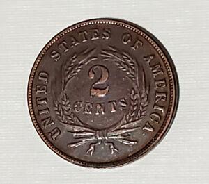 1865 Two Cent Piece (2 Cent) 2C US CIVIL WAR Era COIN