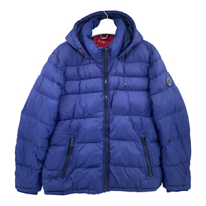 Tommy Hilfiger Size Adult XL Varsity Puffer Jacket Hooded Spellout Blue
