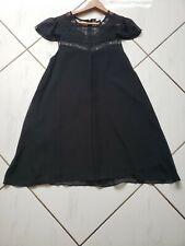 BCBGeneration Black Lace Dress Chiffon Pleated Cap Sleeves Baby Doll Size XS
