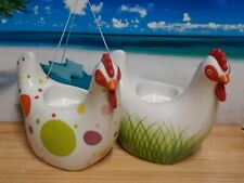 Pair of PartyLite Farmhouse Cottage Chicken Tea Light Candle Holders