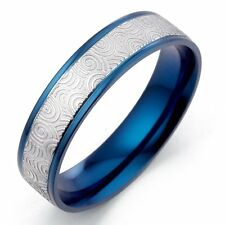 Personalise Customise Men Women Blue Anniversary Titanium Ring MK065AA 4mm SzH-W