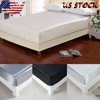 Silk Bed Cover Protector Elastic Solid Breathable Mattress Twin Full Queen King