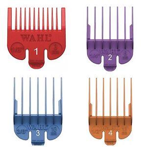 WAHL CLIPPER ATTACHMENTS - GRADES 1-4 (Red, Purple, Blue, Orange)