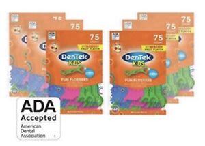 DenTek Kids Fun Flossers Wild Fruit with Fluoride 6 packs (75 each) (450 total)