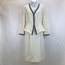 VTG Rimini Ivory and Black Beaded Trim Blazer Skirt set Womens Size 4