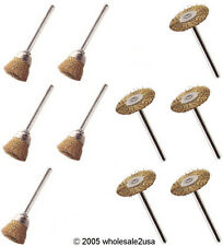 (10) 5 Cups 5 Wheels Brass Wire Brushes Tool for Dremel