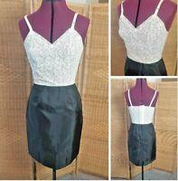 Vintage 1980's Sexy White Lace Black Satin Petticoat Shoulder Slip size 8