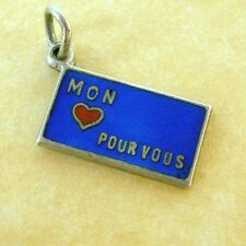 Vintage German 800 Silver Enamel Rebus Charm French Love Letter My Love for You