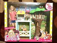 Barbie Animal Rescuer Vet Doll Playset Fox Deer Owl Treehouse Squirrel Likenew