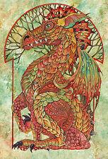 """Impresionante Muy Raro De Linda Ravenscroft Original """"Némesis"""" Dragon Mítico Pintura"""