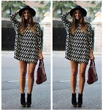 Femme Robe Droite Manche longue Loose Géométrique Chemise Mousseline Tunique HOT