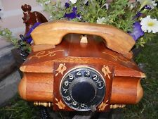 Old Soviet Russian Vtg ussr rare Old Telephone ANTIQUE handmade wood