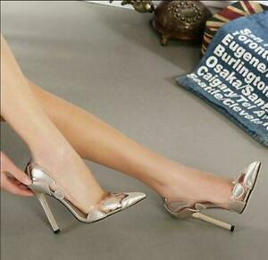 Womens Pumps Pointed Toe Shoes High Heels Stilettos Dots Transparent new b588