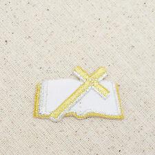 Iron On Embroidered Applique Patch Gold White Holy Bible Christian Cross