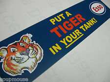 Vintage,Esso,Tiger, in Your Tank,Motor,Oil,Sign,Approx.,6x24 Blue Aluminum.