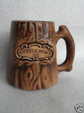 Mug Beer Stein 4in Treasure Craft Wood Look Myrtle Beach SC Souvenir Pottery Vtg