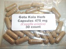 Gotu Kola Herb Powder Capsules (Centella asiatica) 475 mg.  30 count