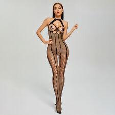 Sexy Bodystockings Bodysuit Underwear Fishnet Open Bra Crotchless Cats AJ