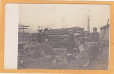 Real Photo Postcard RPPC - Four Boys in Lumber Yard - One Boy on Motorcycle