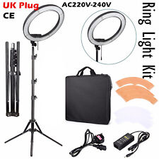 "18"" Dimmable LED Ring Light Flashes Kit + Light Stand for Photo Video Camera UK"
