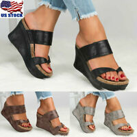 US Womens Sandals Wedge Shoes Platform Heels Thong Flip Flops Leather Shoes Size