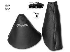 "Gear & Handbrake Gaiter For Mazda MX5 MK3 2 Panels Leather ""Miata"" Grey"
