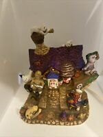 """Spooky Hollow; Haunted """"Ghost Ship"""" Porcelain Lighted House With Light In Box"""