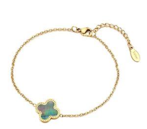 "Gold Plated Titanium Stainless Steel Seashell Four Leaf Clover Bracelet 7-8"""