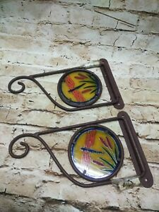 "Vintage AmerTac 10"" Plant Hanger Swivel Bracket Wrought Iron Stain Glass"