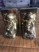 Rare ANTIQUE Pair Brass/bronze Cherub & Butterfly Bookends Circa 1924 Ronson