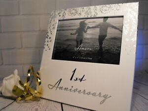 1ST WEDDING ANNIVERSARY GIFT FIRST WEDDING ANNIVERSARY 6 BY 4 PHOTO WHITE FRAME