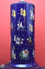Vintage Kashmir Handpainted Papier Mache Table Lamp with Lapis Lazuli Finial