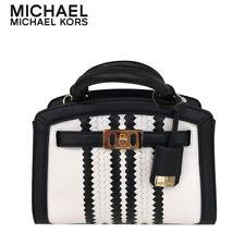 MICHAEL KORS KARSON XS SATCHEL PEBBLED LEATHER EXTRA SMALL BAG OPTIC WHITE BLACK