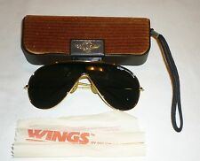 """VINTAGE BAUSCH LOMB RAY-BAN """"WINGS"""" AVIATOR SUNGLASSES W/ CASE"""