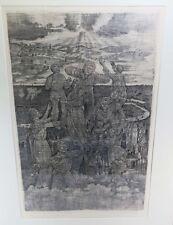 Kitzig Alfred 1902-1964 Radierung Aufschwebende Personen Figuren über Großstadt