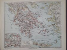Landkarte von Griechenland, Kreta, Corfu, Attika, Athen, Meyer 1896