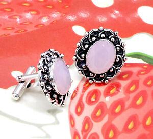 "Handmade 925 Sterling Silver Rose Quartz Gemstone Jewelry Cuff Links Size-1"""