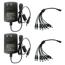 2Pack DC 12V 3A Power Supply Adapter + 1 to 8 Splitter Cable For Camera UL FCC