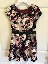 Amy Wear Youth Girl's Dress Size 10 Burgandy Gray Pink White Blue Ex Cond