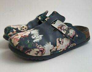 Papillio Birkenstock Womens Sz 37 6 6.5 US Floral Slip On Clog Mule Boston Shoe