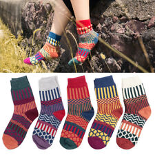 5 Pairs Women Wool Cashmere Thick Warm Soft Solid Casual Sports Socks Winter UK
