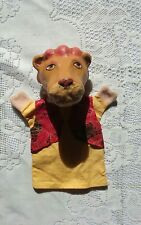 Vintage Lion Hand Puppet with Paper Mache Head Puppet Show