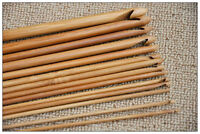 "12 Size Bamboo 6"" Handle Crochet Hook Knit Weave Yarn Craft Knitting Needle Set"
